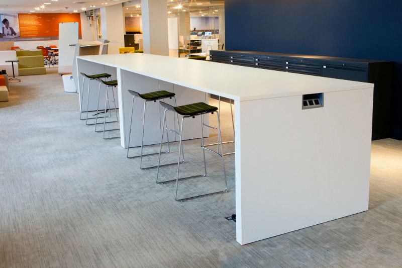 Allsteel Harvest table Take 5 stools Gather collaborative