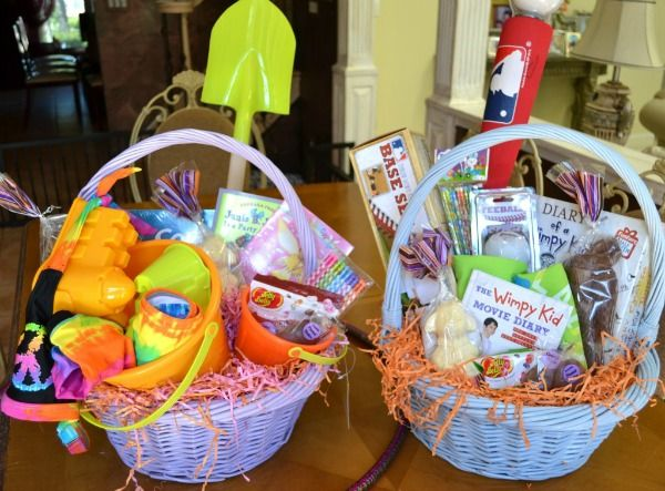 Here is how i am filling up my twins easter baskets with easter negle