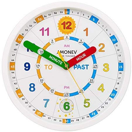 Amonev Time Teacher Scope Wall Clock Teach Children To Instantly Read And Say The Time With This Silent Movement Clock Teaching Kids Clock For Kids Teacher