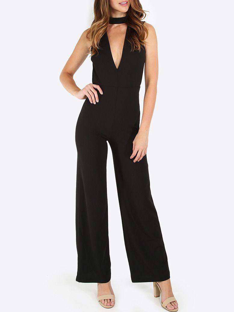 Black Sleeveless V Neck Jumpsuit -SheIn(Sheinside)   blusas ...