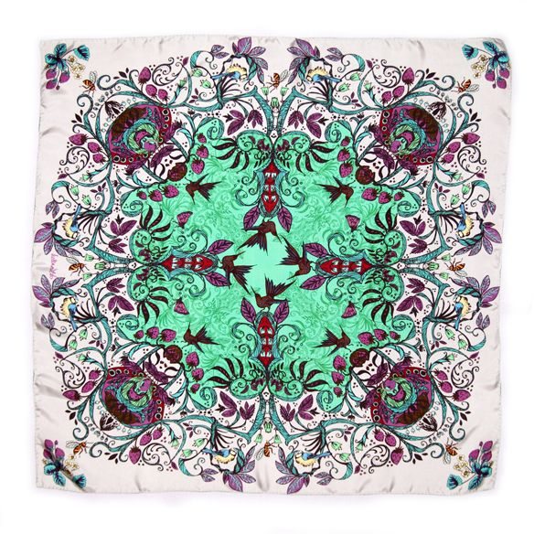 Strawberry Vines in Emerald Green by Helen Ruth Scarves. Silk twill scarf with hand rolled edge featuring a tangle of strawberry plants with birds and bees hidden in the foliage. www.helenruth.co.uk Helen Ruth Scarf