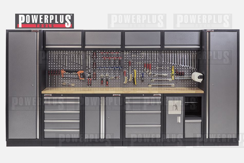 Werkstatteinrichtung mit Hartholzplatte, Werkstatt Set 392 x 46 x ...