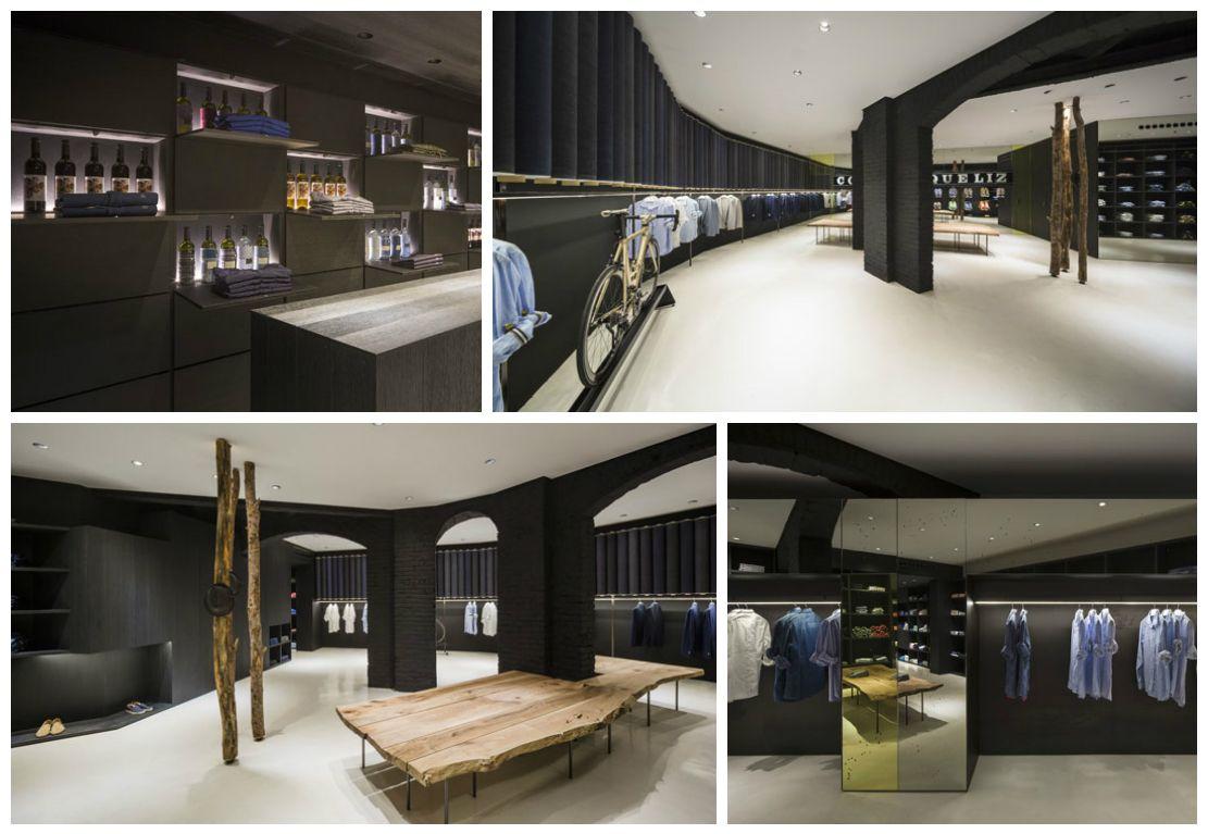Francesc Rifé Retail. Tienda de moda Nino Fernández en Barcelona. Estructuras de madera, cristal y espejo en el antiguo Colmado Quílez. #fashion #retail #moda #interiordesign #interiorismo #glass #furniture #light #wood. Foto: FErnando Alda