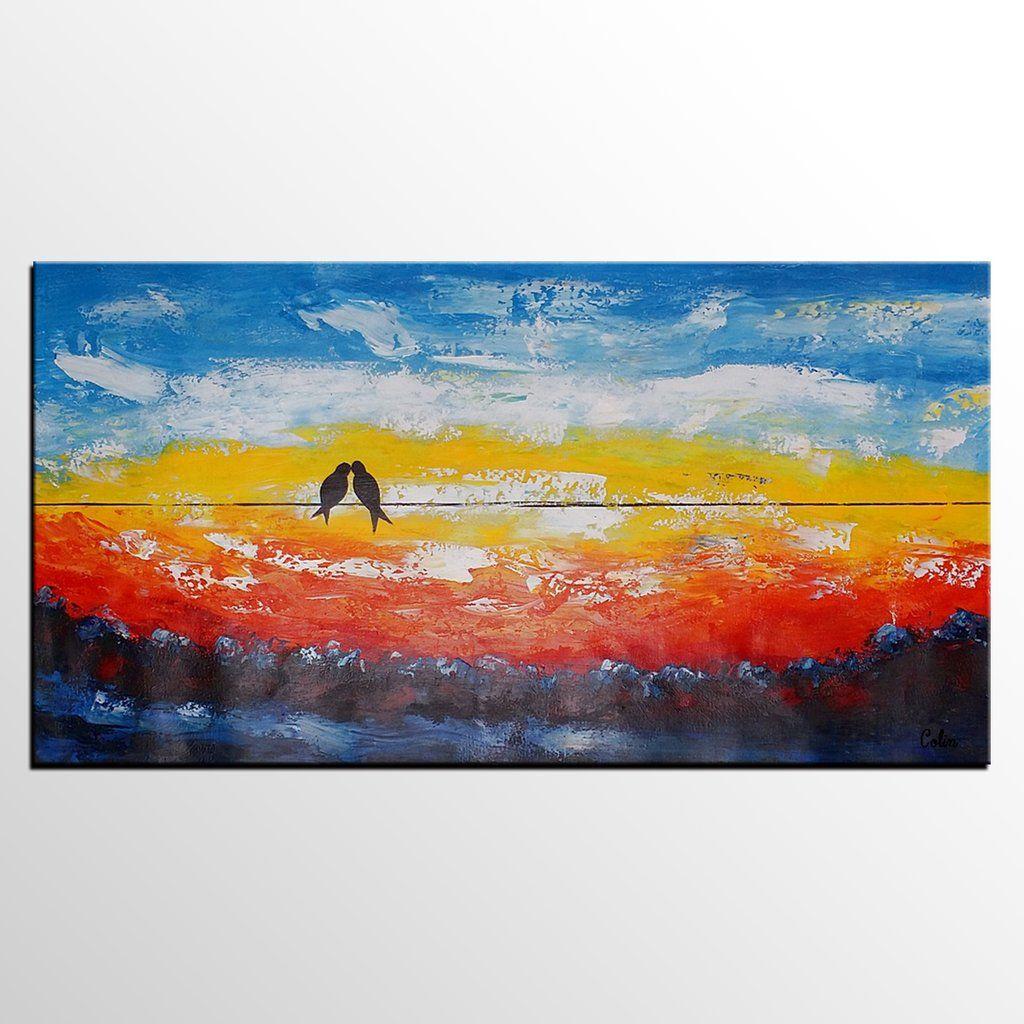 Love birds painting original art abstract wall art