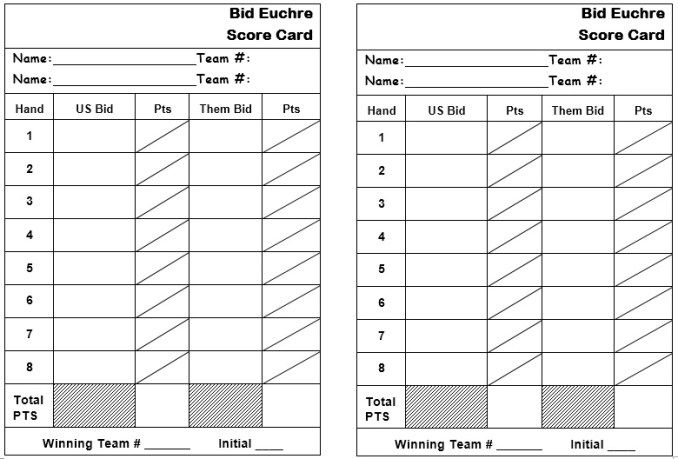 Euchre Score Sheet Template  Stationary Templates    Scores