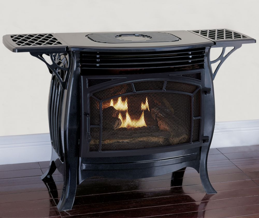 Duluth Forge Dual Fuel Ventless Gas Stove Gloss Finish Remote
