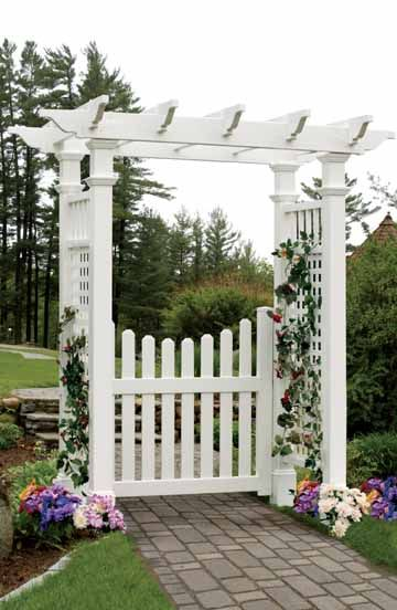 Attractive Cottage Picket Arbor Gate (Gate Only)  This No Maintenance Vinyl Gate Is  Sized To Fit The Fairfield II Arbor (shown) And The Newport Arbor.