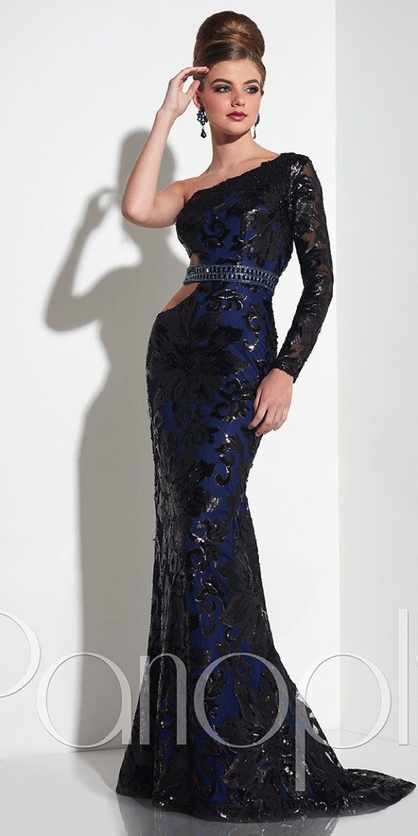 Sequin Cut Out One Sleeve Prom Dress . Colors: Navy/Black ...