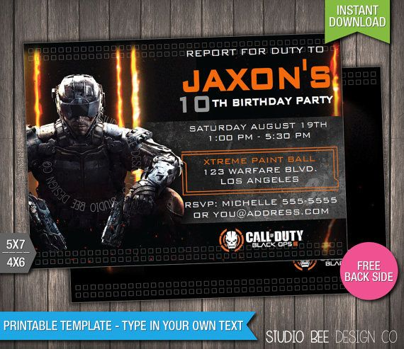 Call of Duty Black Ops 3 Birthday Invitation INSTANT DOWNLOAD