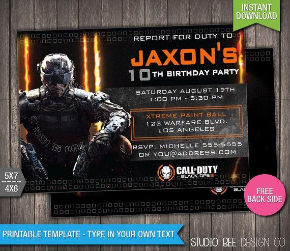of duty black ops 3 birthday invitation