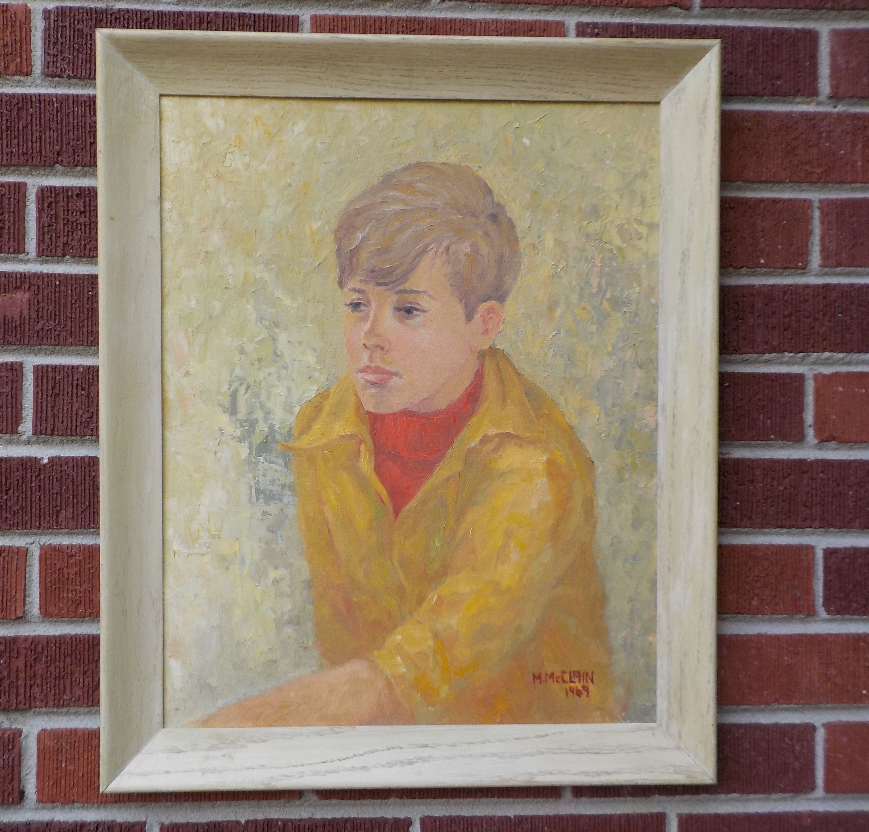 Antique Victorian Oil Portrait Painting of a Boy Circa