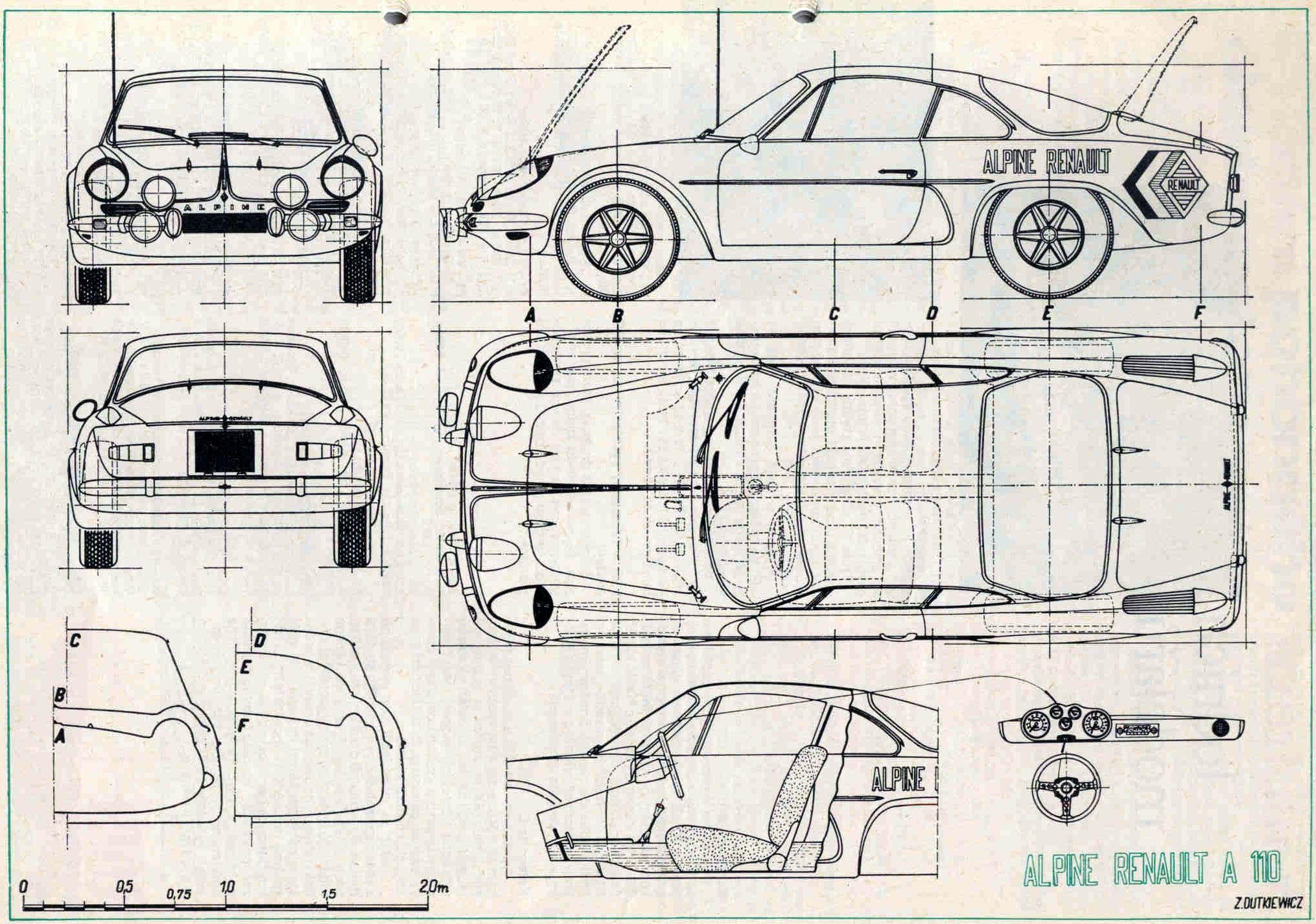 Alpine renault a110 racing car blueprint car drawings - Dessin de aloine ...