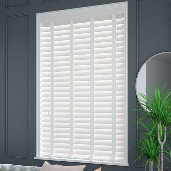 Pure White & White Wooden Blind with Tapes - 64mm Slat #purewhite
