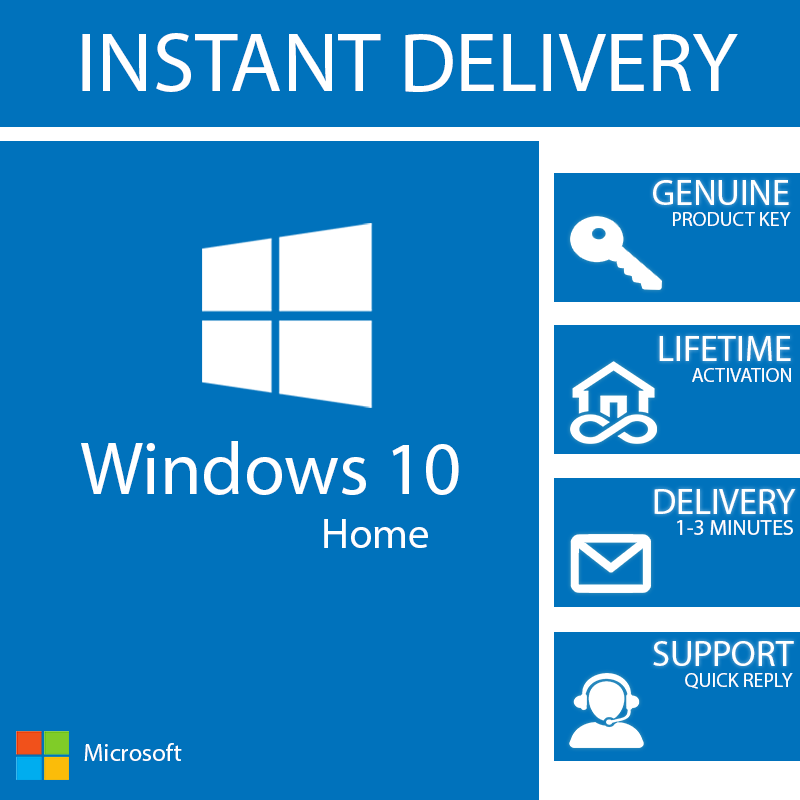 Windows 10 home key 32 / 64 bit activation code license in ...