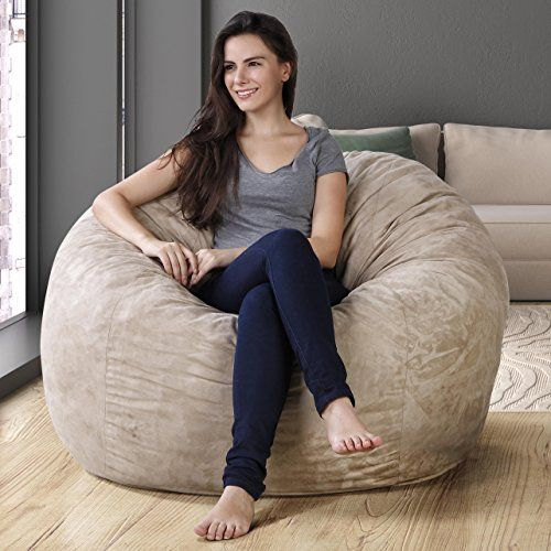 Xxl Bean Bag Chair In Sand Dune Faux Suede Comfort Cove For