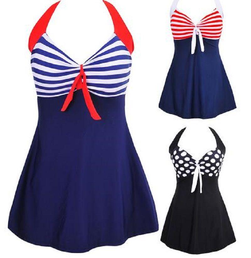 섹시 플러스 사이즈 스트라이프 패딩 고삐 스커트 수영복 여성 조각 수영복 비치웨어 수영복 수영복 드레스 M 4XL
