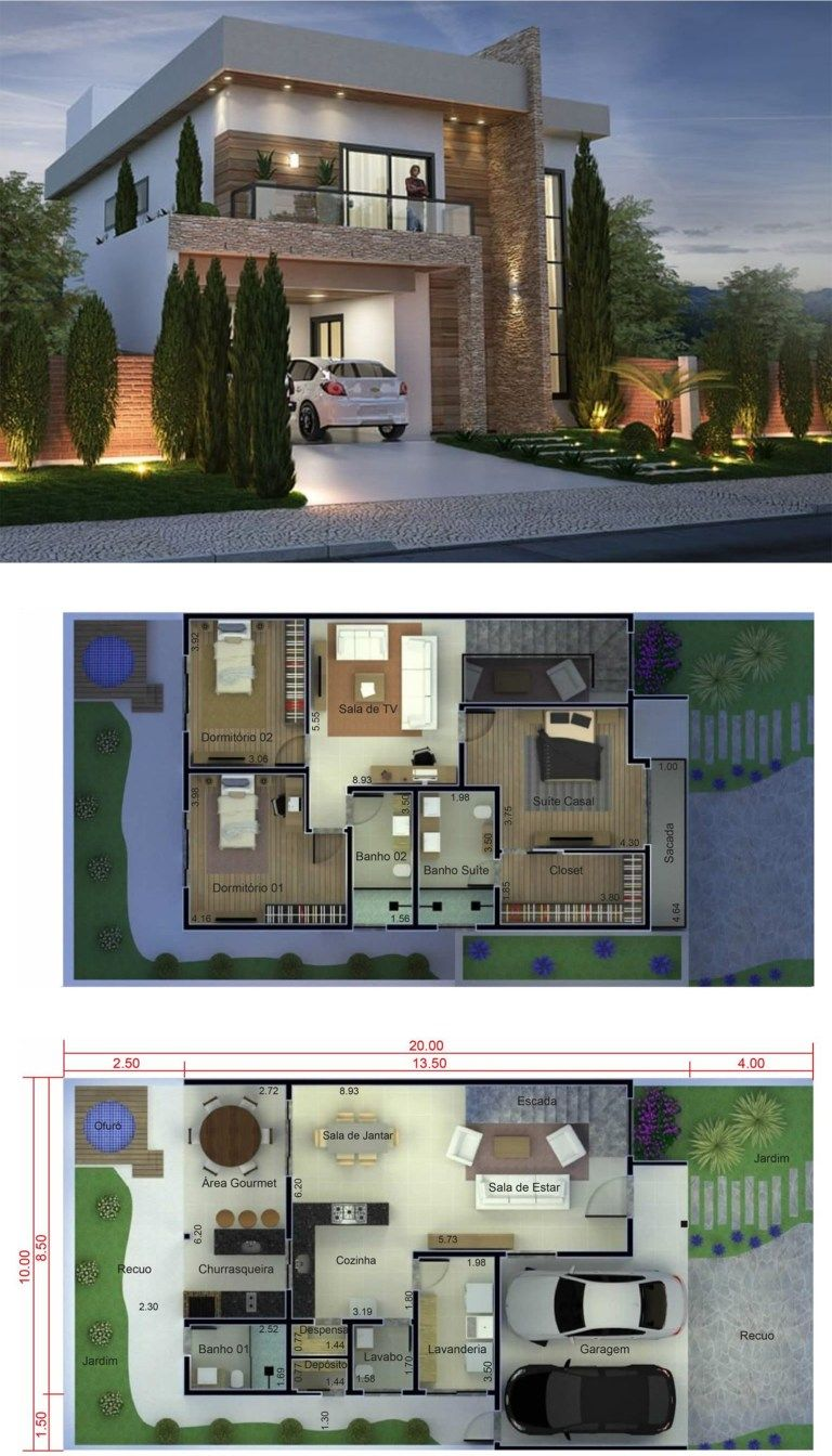 3 Bedrooms Home Design 10x20 Meters Home Design With Plan Architectural House Plans Architectural Design House Plans House Construction Plan