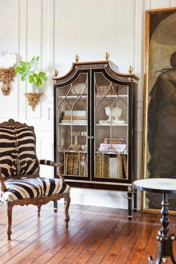 Wohnzimmer Holzboden Antikmbel Sessel Zebramuster
