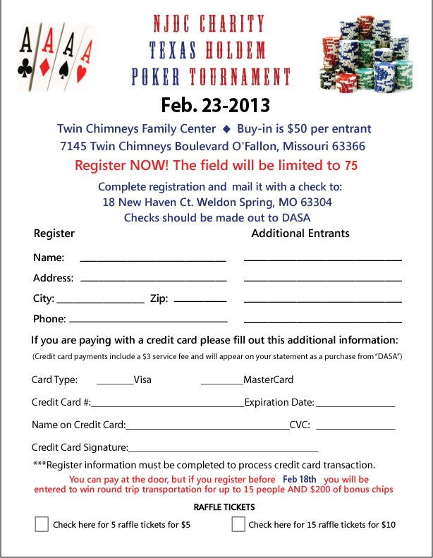 Join us for Texas Holdem Poker Night February 22 2013 Proceeds