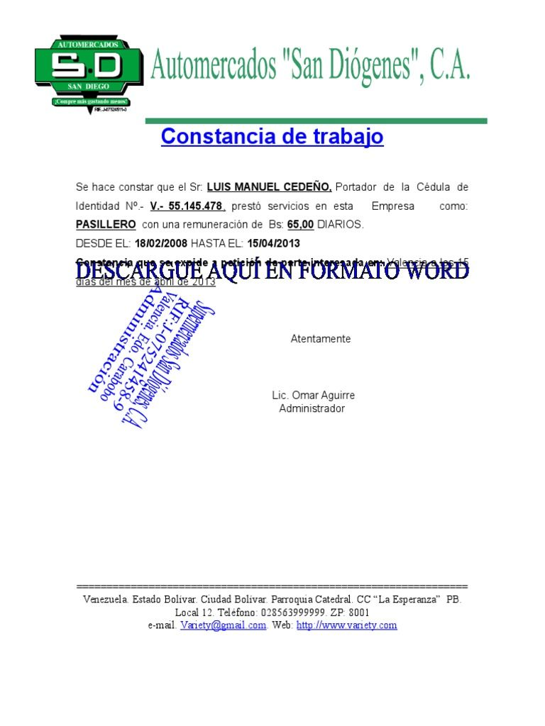 I\'m reading Formato de Carta de Trabajo on Scribd | Carta ...