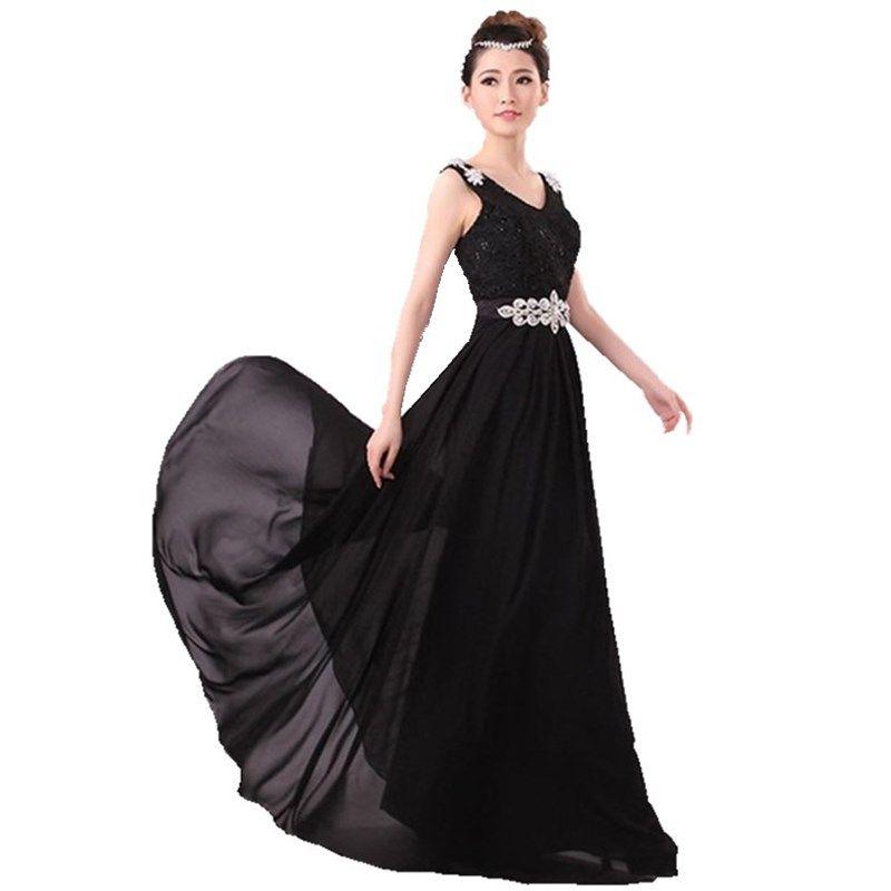 Evening dress long lace robe