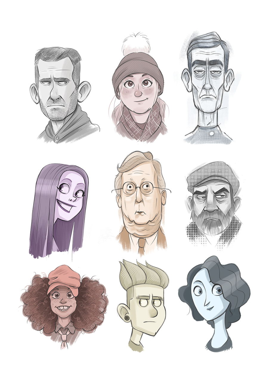 Experimenting With Some Head Shapes And Styles I Used The Halftone Brushes By Kyle T Webster They Re Awesom Cartoon Art Styles Cartoon Head Cartoon Drawings