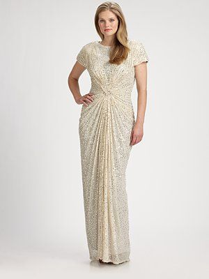 Tadashi Shoji, Salon Z - Sequin-Mesh Gown - Saks.com - Plus Size ...