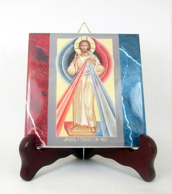 #divinemercy of Jesus #Catholic #icon on ceramic tile https://www.etsy.com/it/listing/267144671/christian-gift-jesus-christ-of-divine
