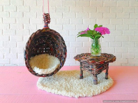 Hanging Swing Chair For Doll Hammock Sitting Nest In 1 12 Etsy Swinging Chair Hanging Swing Chair Hanging Swing