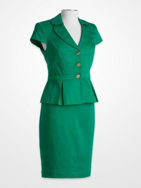 Emerald Green Short Sleeve Peplum Skirt Suit Coloroftheyear Pop
