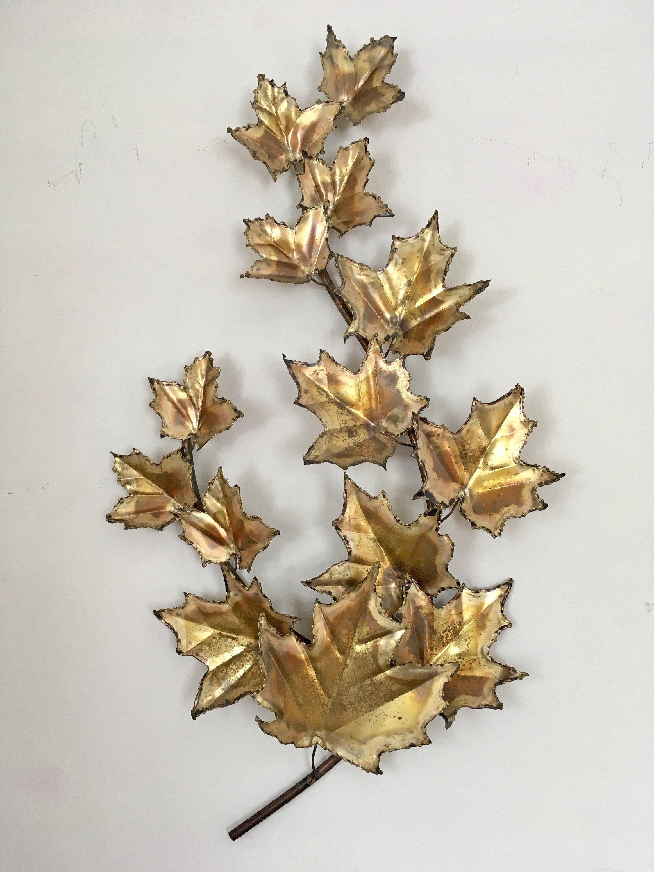 Brass Leaf Wall Hanging Mcm Oxweld Gold Metal Sculptural Art Etsy Sculpture Art Wall Hanging Hanging Art