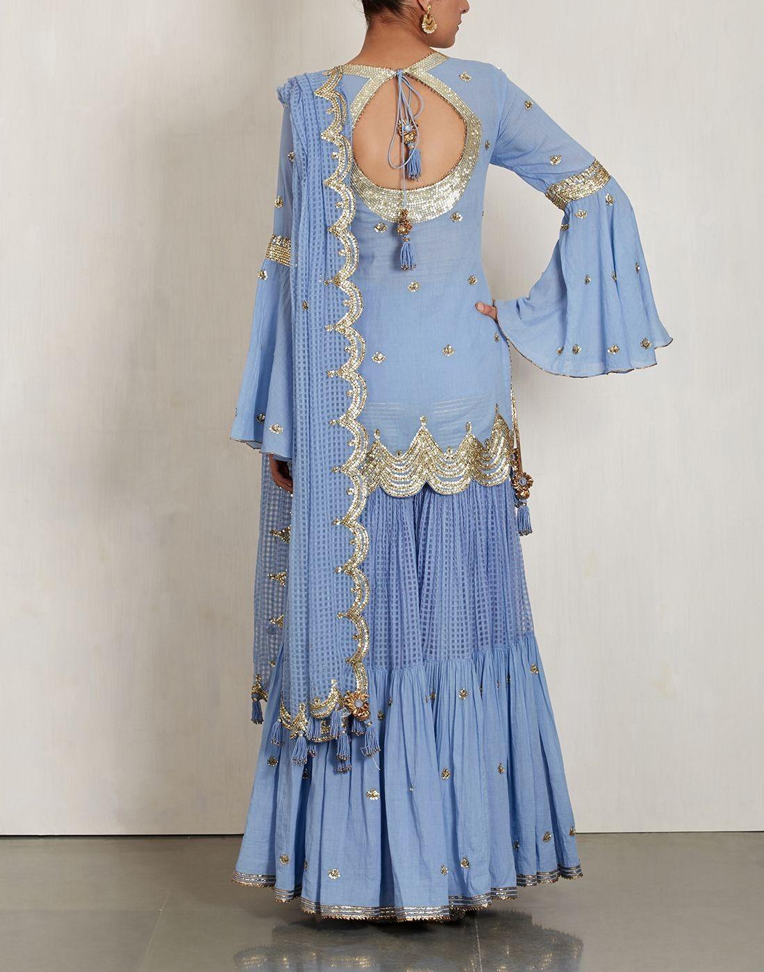 815bc3921f4e68 Blue Sharara Set with Sequin Embroidery-SUKRITI   AAKRITI