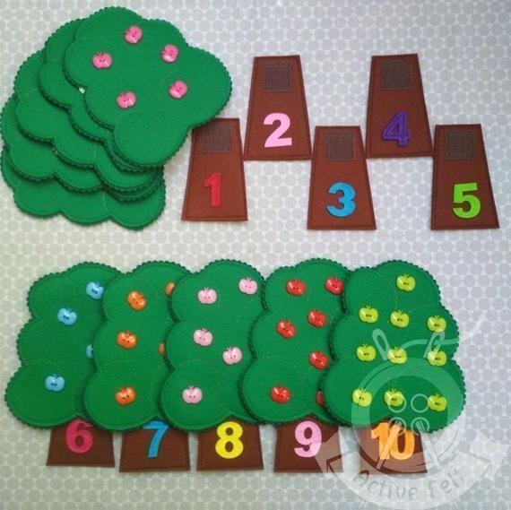 Photo of Manzanas Montessori Busy Bag Juego de combinación motricidad fina colores y números