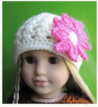 Pattern in PDF -- crocheted doll daisy flapper beanie hat for ...