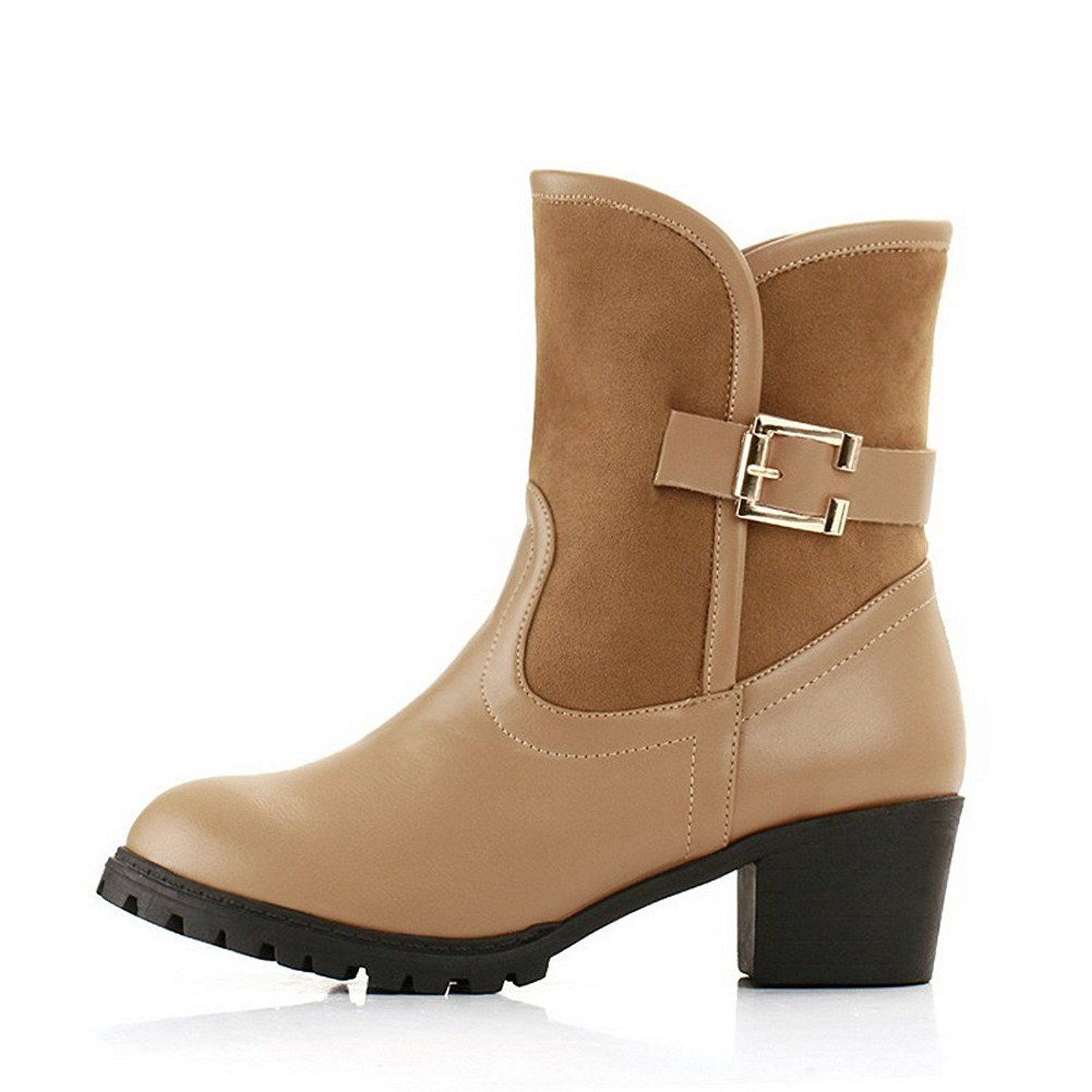 Amoonyfashion Womens Round Closed Toe Kitten Heels Assorted Colors Pu Boots With Buckle This Is An Amazon Affi Kitten Heel Boots Boots Womens Knee High Boots