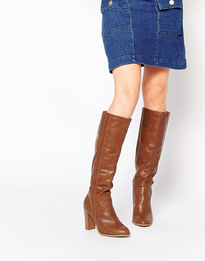 6ac8072f451 Asos. Woman Shoes. Knee High Boots. New+Look+Heeled+Pull+On+Knee+Boots Shoe  Bin