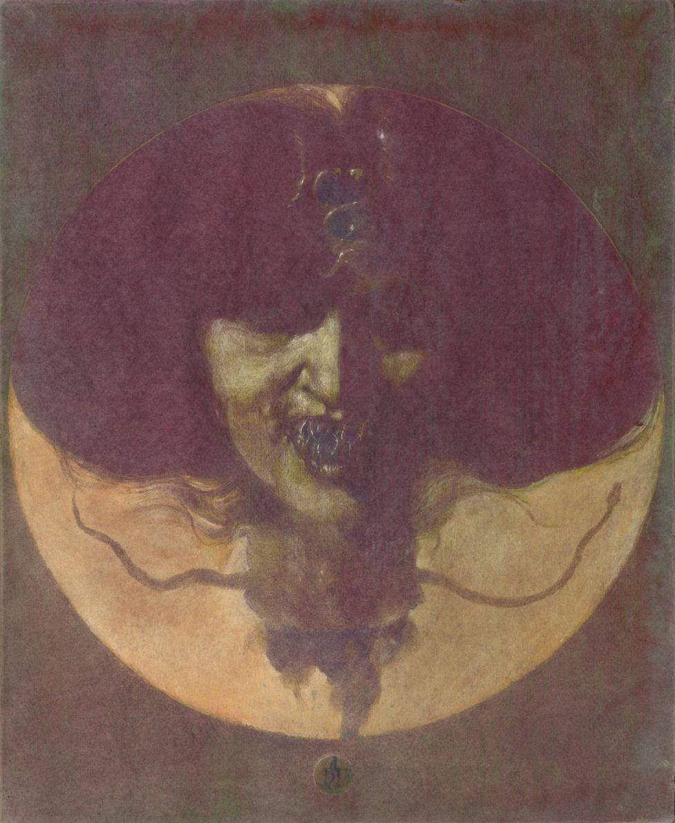 "Denis Forkas Kostromitin  Gorgoneion V, 2012  Ink, watercolour and chalk on ""mirror"" paper mounted on masonite, 50 x 41 cm"