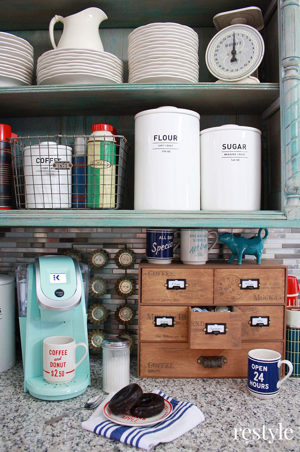 IKEA Moppe Hack Coffee Storage Idea is part of Home Accents Ikea Hacks - Organize your coffee storage with this easy hack for Ikea Moppe mini storage chest and some DecoArt Vintage Effect Wash  Perfect countertop storage