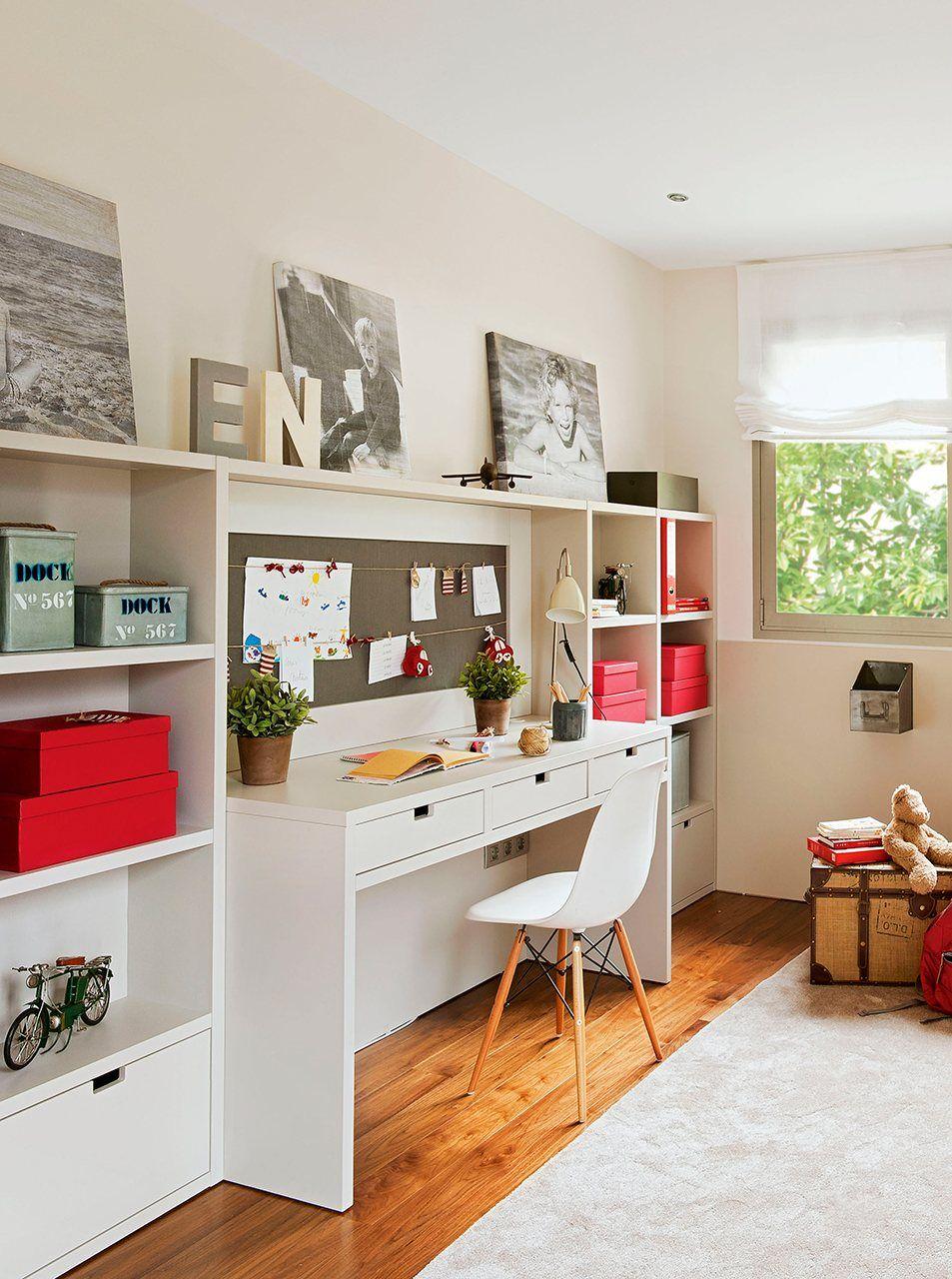 Zona De Estudio Dormitorio Juvenil Para Empezar A Estudiar En  ~ Decorar Habitacion Estudio Ikea