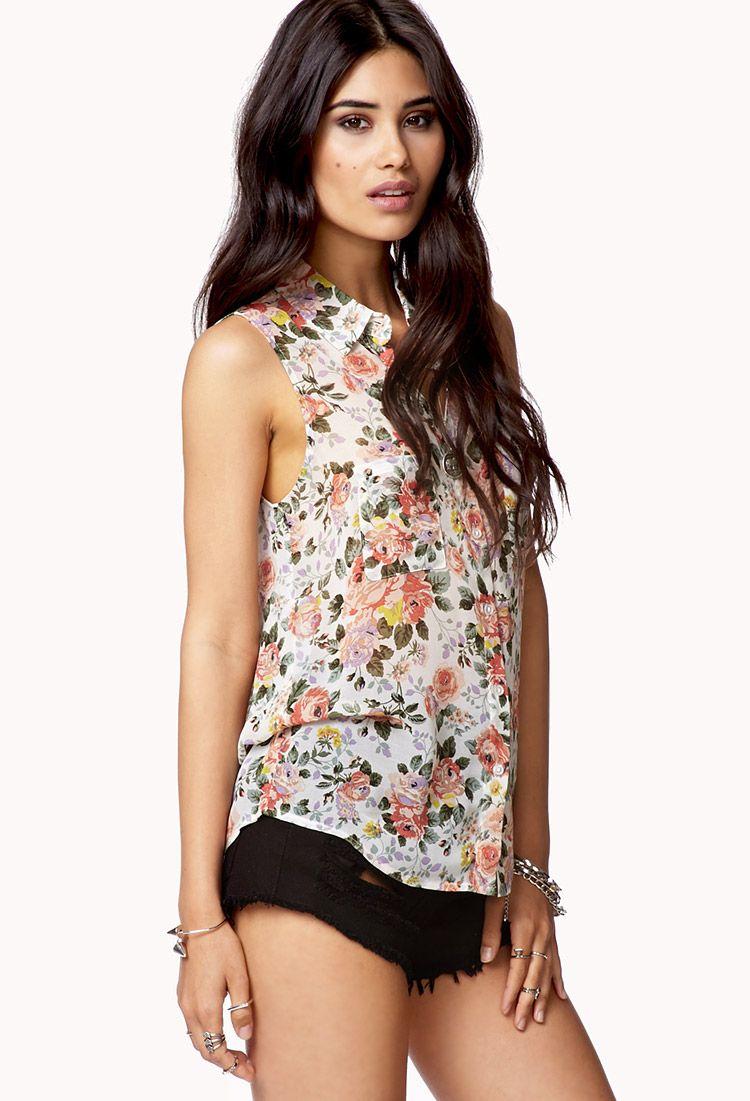 High-Low Floral Print Shirt | via Forever 21