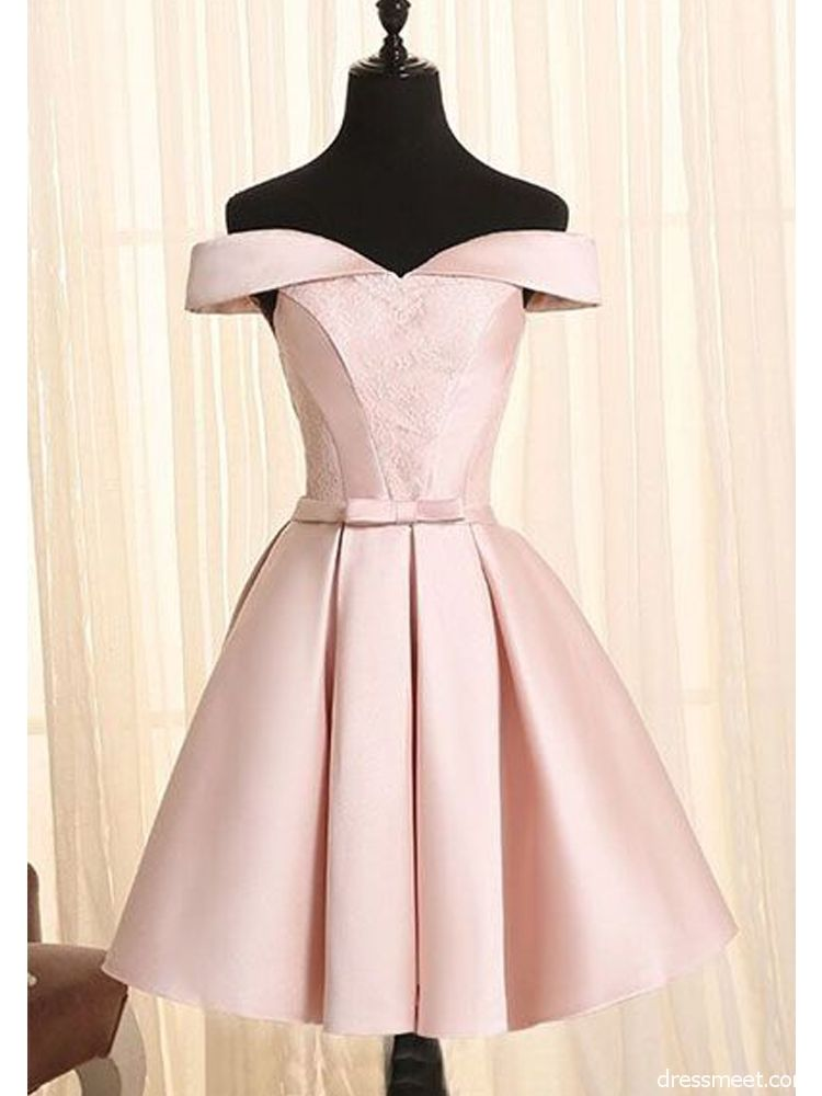 feffe6e6800 Simple A Line Off the Shoulder Pearl Pink Satin Short Homecoming Dresses  with Lace | Dressmeet