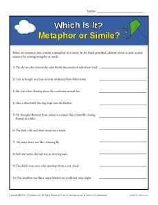 Metaphor worksheet. Great site with many ideas to support ...