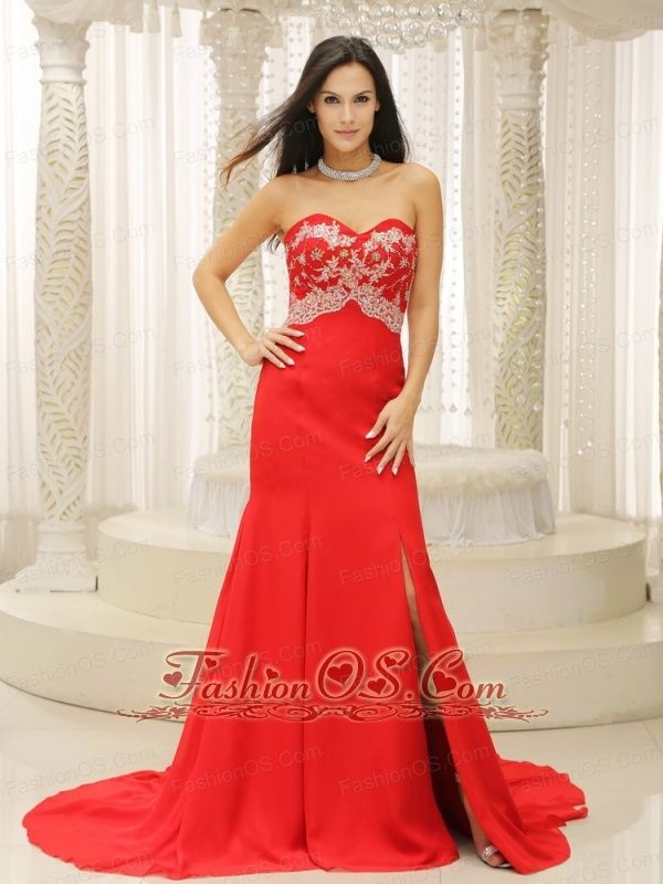 High Slit Sweetheart Appliques Decorate Bust For Celebrity Dress In ...