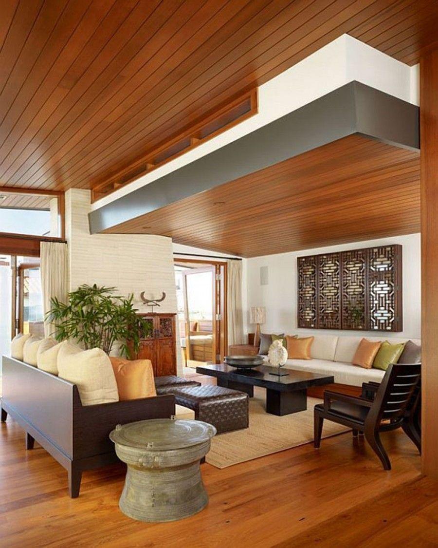 Modern Wooden Interior Beach Home Livingroom Design