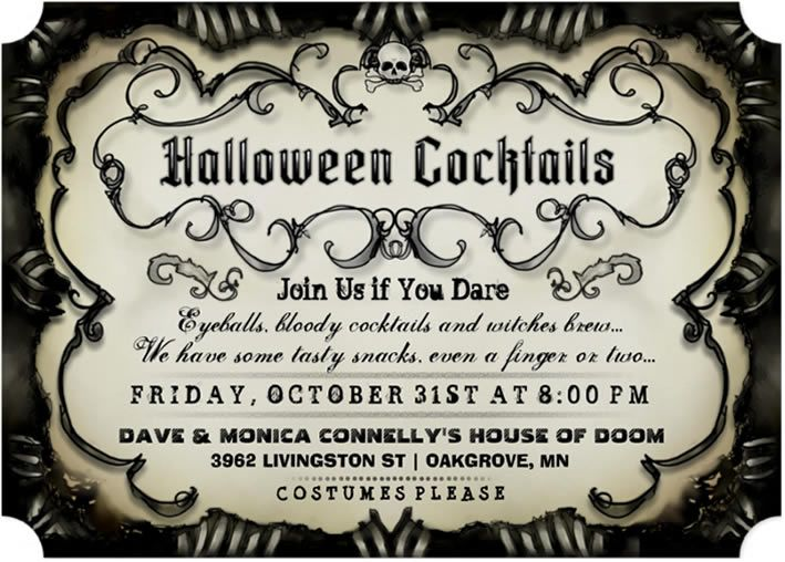 Halloween spooky cocktail gothic invitation black tan join us halloween spooky cocktail gothic invitation black tan join us if you dare stopboris Choice Image