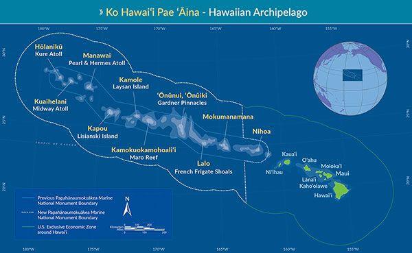 Map Of Hawaiʻi Highlighting Papahanaumokuakea S New Boundaries National Monuments Monument National