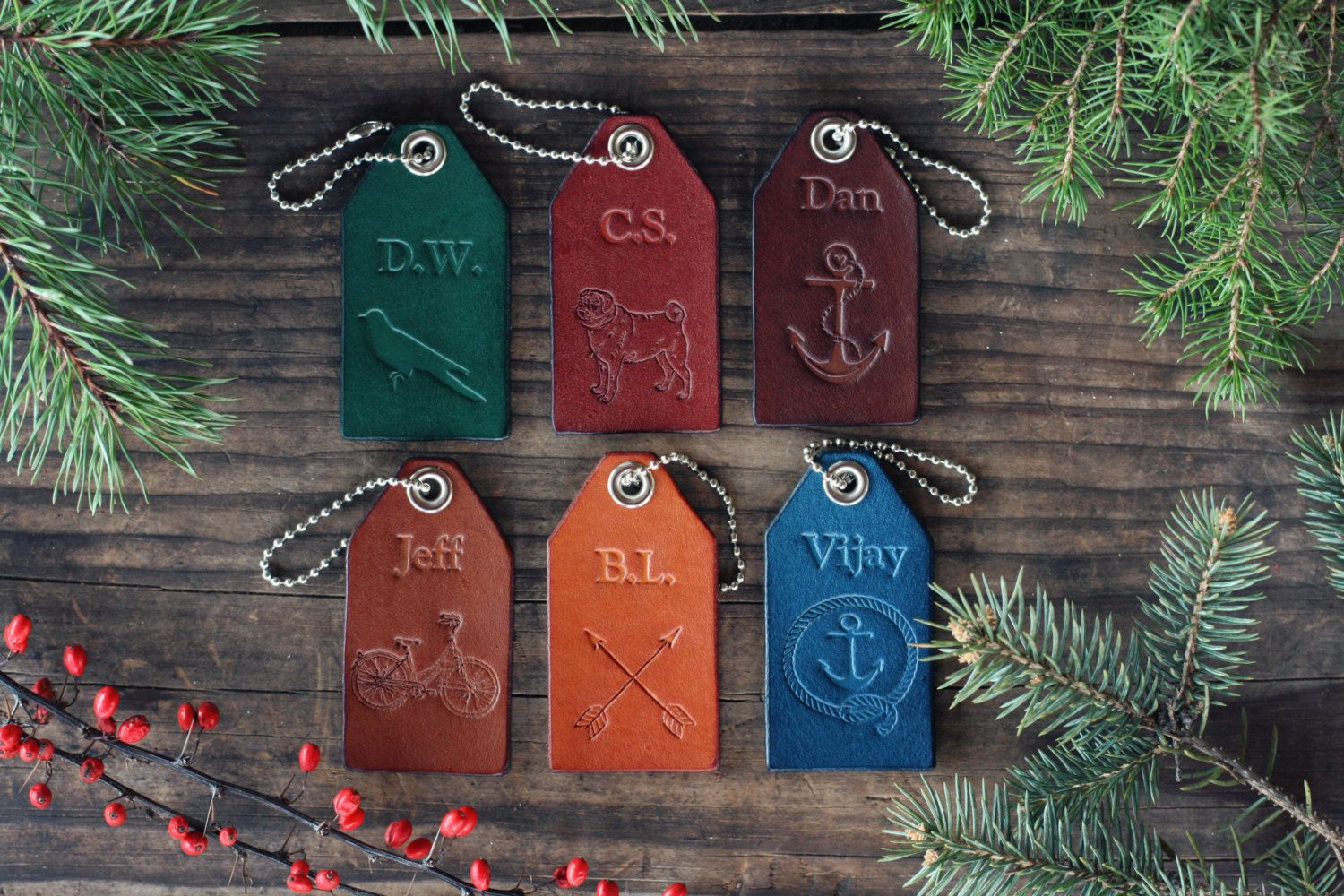 6 Custom Personalized Leather Luggage Tags by RSVPhandcrafted
