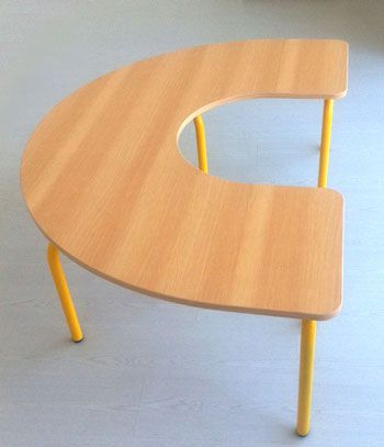 mesa guarderia en u madera,mobiliario guarderia,mobiliario escolar ...