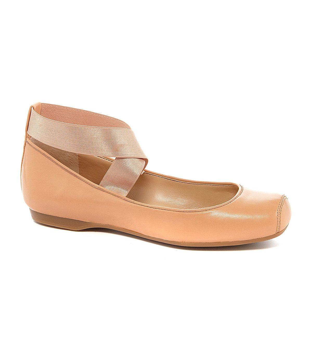 Mandalaye Leather Square-Toe Criss Cross Ankle Straps Ballet Flats xW1EPPYPtO
