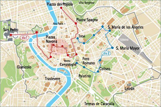 Mapa De Roma Turistico.Propuesta De Visitas En Roma Para 1 2 3 Dias Viaje A
